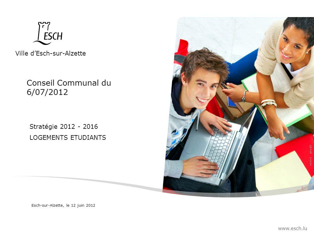 Ville dEsch-sur-Alzette www.esch.lu Stratégie 2012 - 2016 LOGEMENTS ETUDIANTS source : google Esch-sur-Alzette, le 12 juin 2012 Conseil Communal du 6/