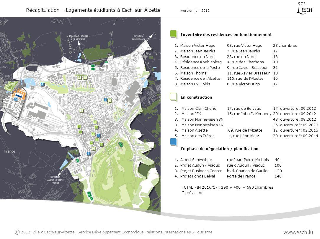 Suivant laccord de coalition 2011-2017 du 28/10/2011 précisant P.6 que « la création de logements pour étudiants dans tous les quartiers de la ville dEsch » est une priorité pour ladite période législative.