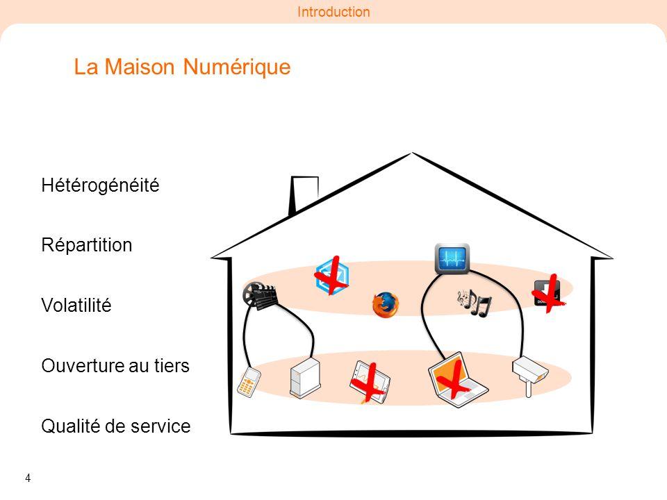 4 Introduction Ouverture au tiers La Maison Numérique Hétérogénéité Volatilité Répartition Qualité de service
