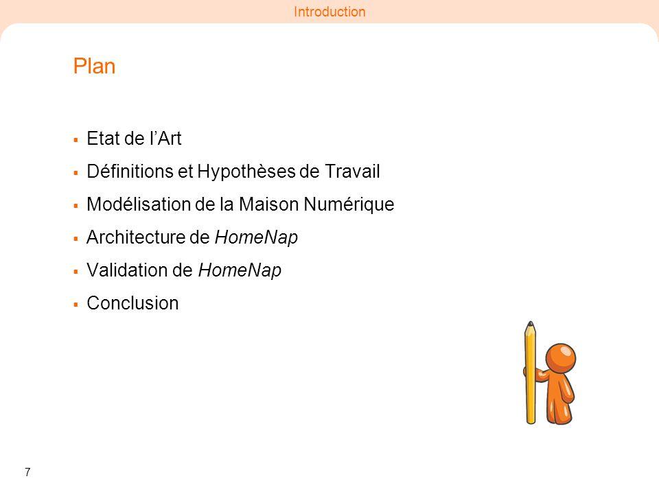 7 Introduction Plan Etat de lArt Définitions et Hypothèses de Travail Modélisation de la Maison Numérique Architecture de HomeNap Validation de HomeNa