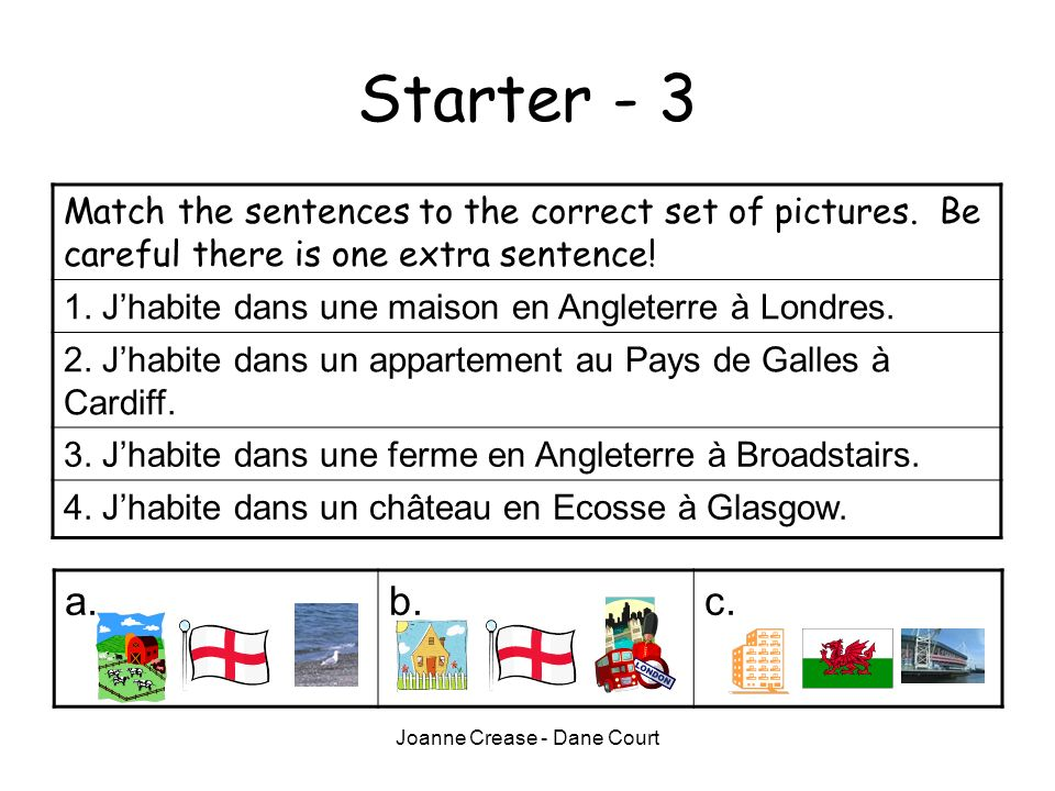 Joanne Crease - Dane Court Starter - 3 Match the sentences to the correct set of pictures.