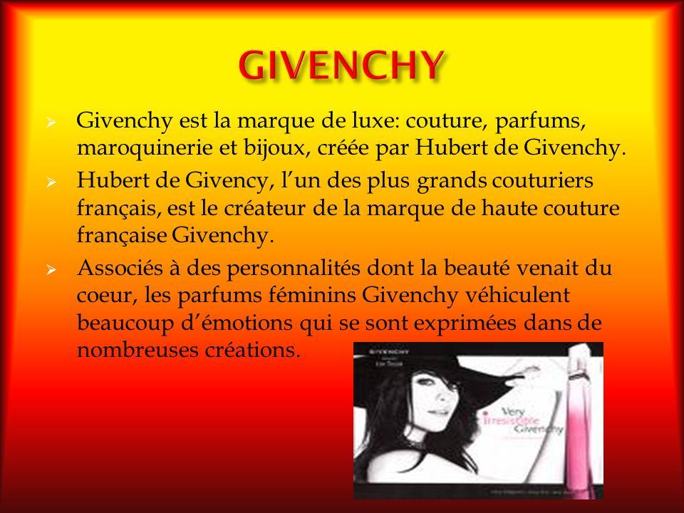 Givenchy est la marque de luxe: couture, parfums, maroquinerie et bijoux, créée par Hubert de Givenchy. Hubert de Givency, lun des plus grands couturi