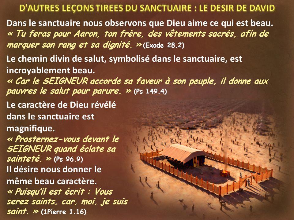 Dans le sanctuaire nous observons que Dieu aime ce qui est beau. « Tu feras pour Aaron, ton frère, des vêtements sacrés, afin de marquer son rang et s
