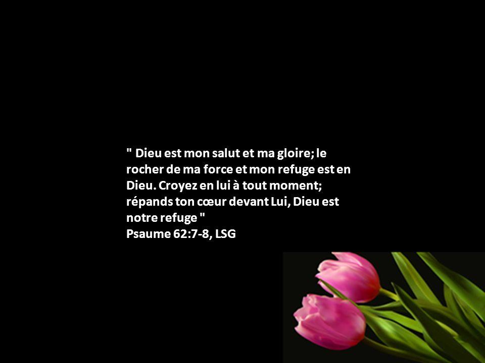 Dieu est mon salut et ma gloire; le rocher de ma force et mon refuge est en Dieu.