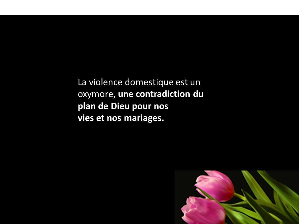 La violence domestique est un oxymore, une contradiction du plan de Dieu pour nos vies et nos mariages.