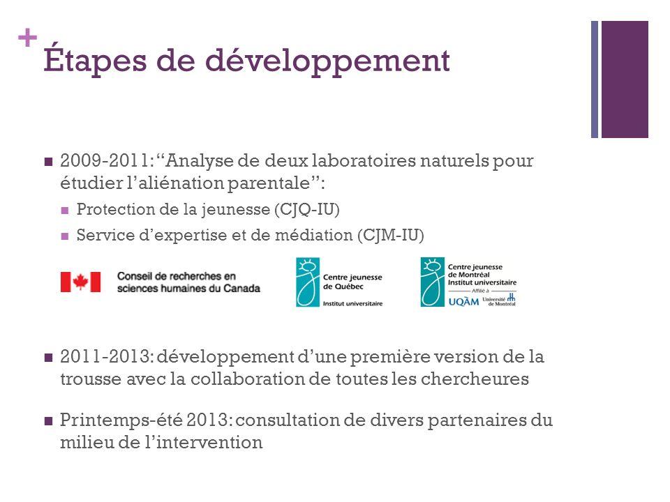 + Étapes de développement 2009-2011: Analyse de deux laboratoires naturels pour étudier laliénation parentale: Protection de la jeunesse (CJQ-IU) Serv