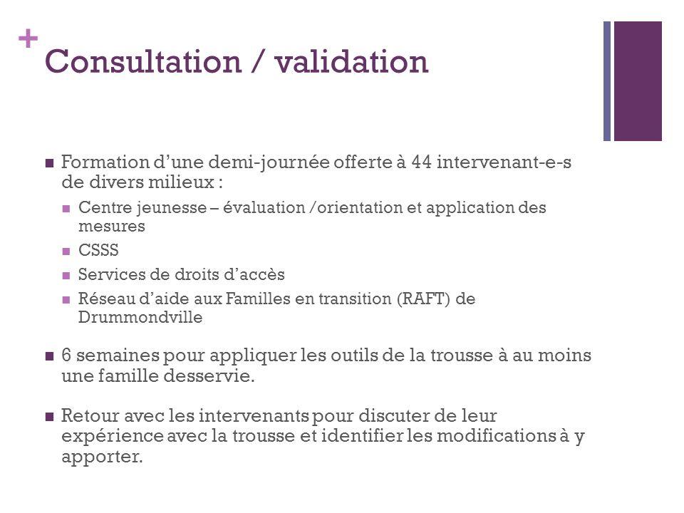 + Consultation / validation Formation dune demi-journée offerte à 44 intervenant-e-s de divers milieux : Centre jeunesse – évaluation /orientation et