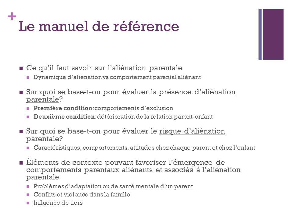 + Le manuel de référence Ce quil faut savoir sur laliénation parentale Dynamique daliénation vs comportement parental aliénant Sur quoi se base-t-on p