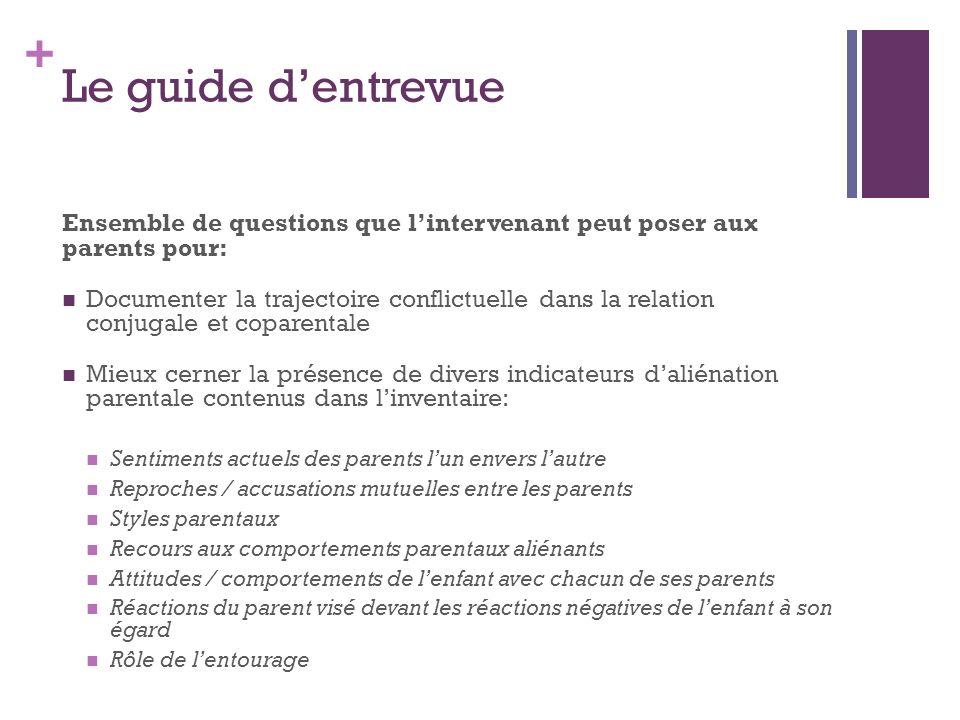 + Le guide dentrevue Ensemble de questions que lintervenant peut poser aux parents pour: Documenter la trajectoire conflictuelle dans la relation conj