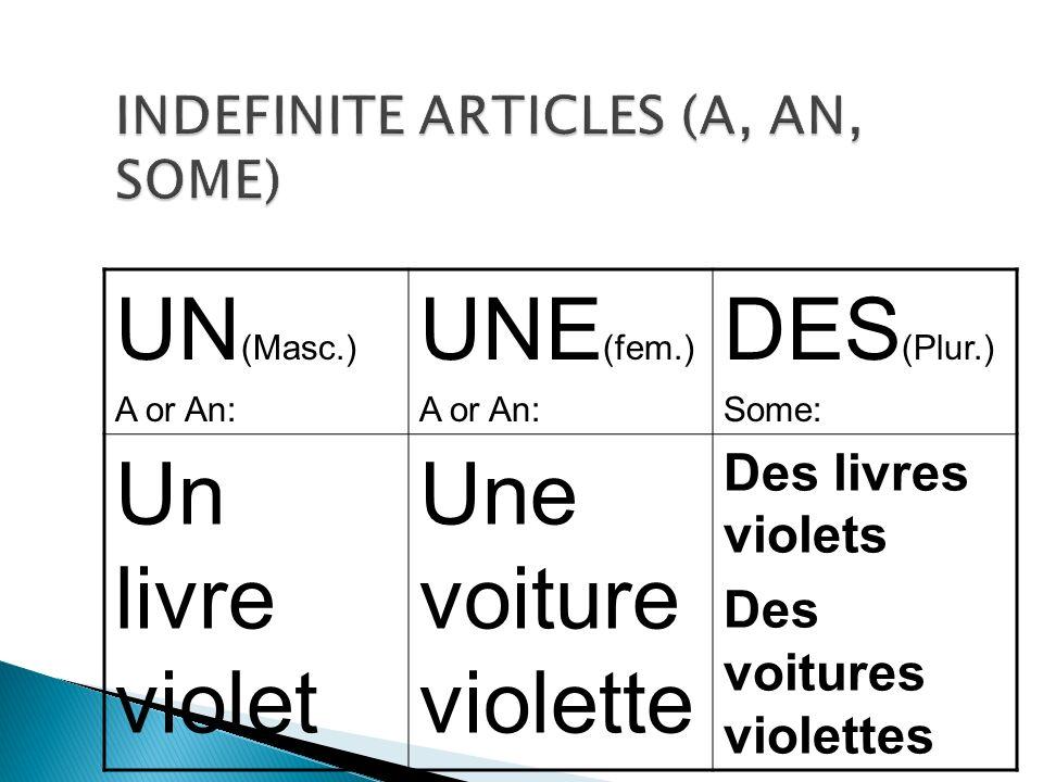 In a negative sentence, however, the Un, Une and Des become De (d) after PAS.
