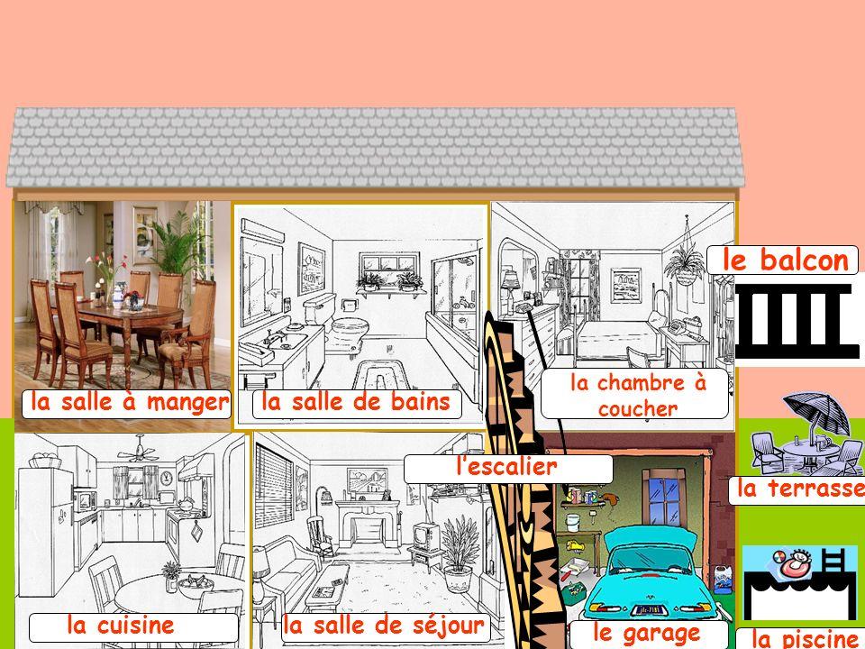 la salle à mangerla salle de bains la chambre à coucher la cuisine lescalier la salle de séjour le garage le balcon la terrasse la piscine