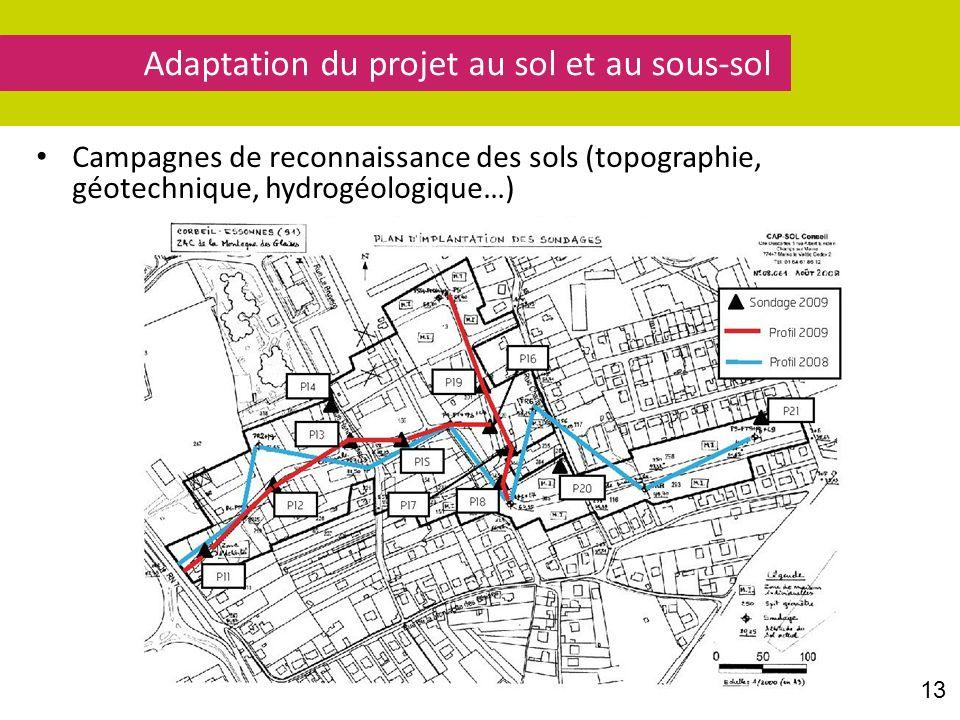 Campagnes de reconnaissance des sols (topographie, géotechnique, hydrogéologique…) Adaptation du projet au sol et au sous-sol 13