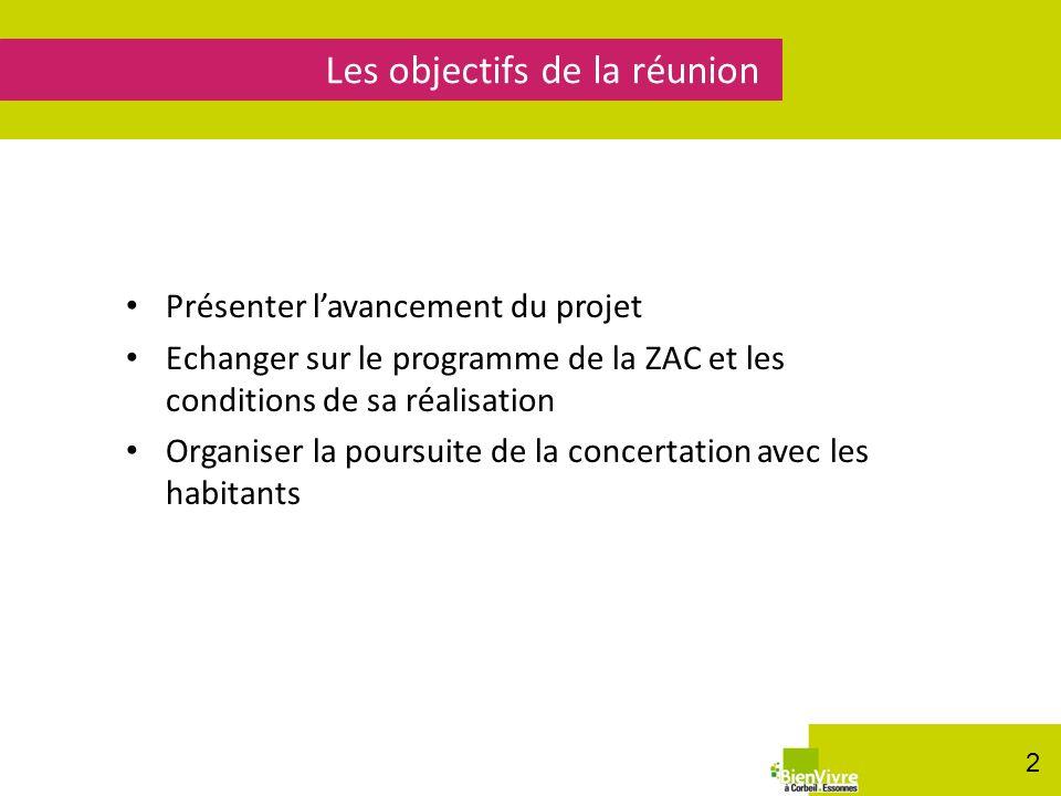 Présenter lavancement du projet Echanger sur le programme de la ZAC et les conditions de sa réalisation Organiser la poursuite de la concertation avec