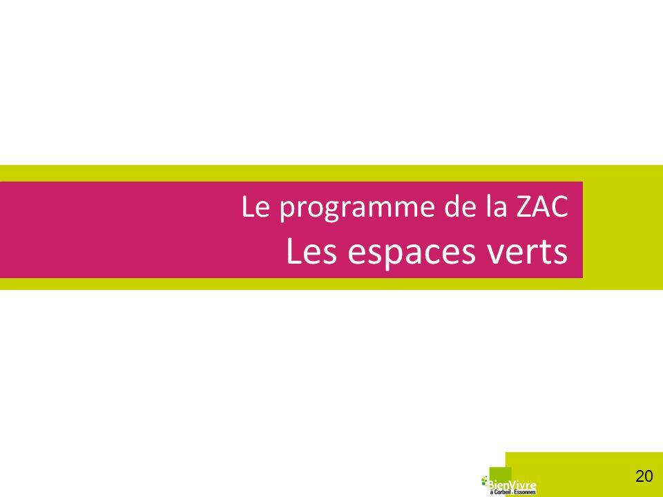 Le programme de la ZAC Les espaces verts 20