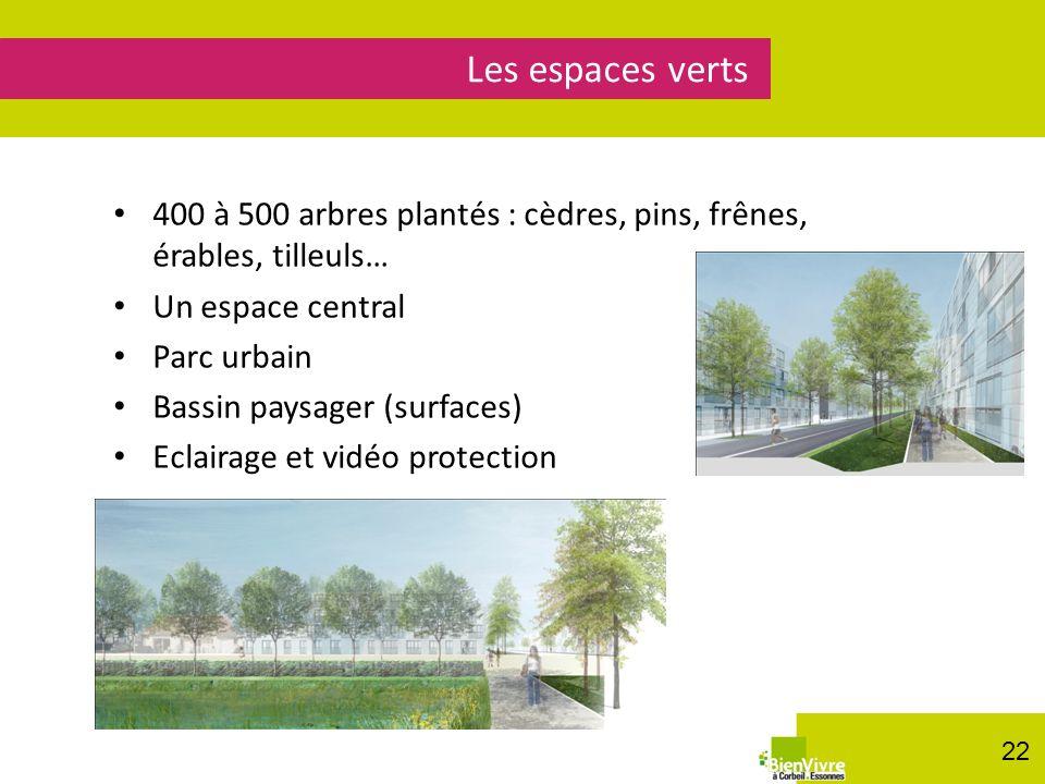 400 à 500 arbres plantés : cèdres, pins, frênes, érables, tilleuls… Un espace central Parc urbain Bassin paysager (surfaces) Eclairage et vidéo protec