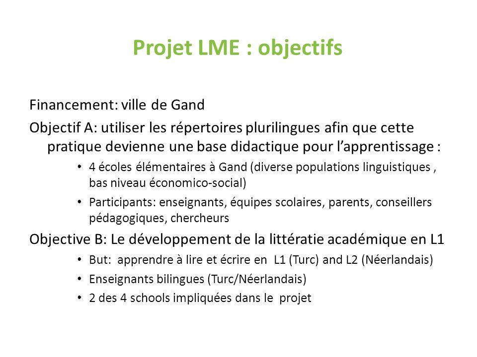 Projet LME : objectifs Financement: ville de Gand Objectif A: utiliser les répertoires plurilingues afin que cette pratique devienne une base didactiq