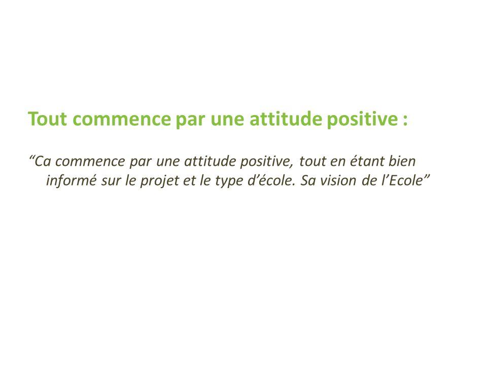 Tout commence par une attitude positive : Ca commence par une attitude positive, tout en étant bien informé sur le projet et le type décole. Sa vision