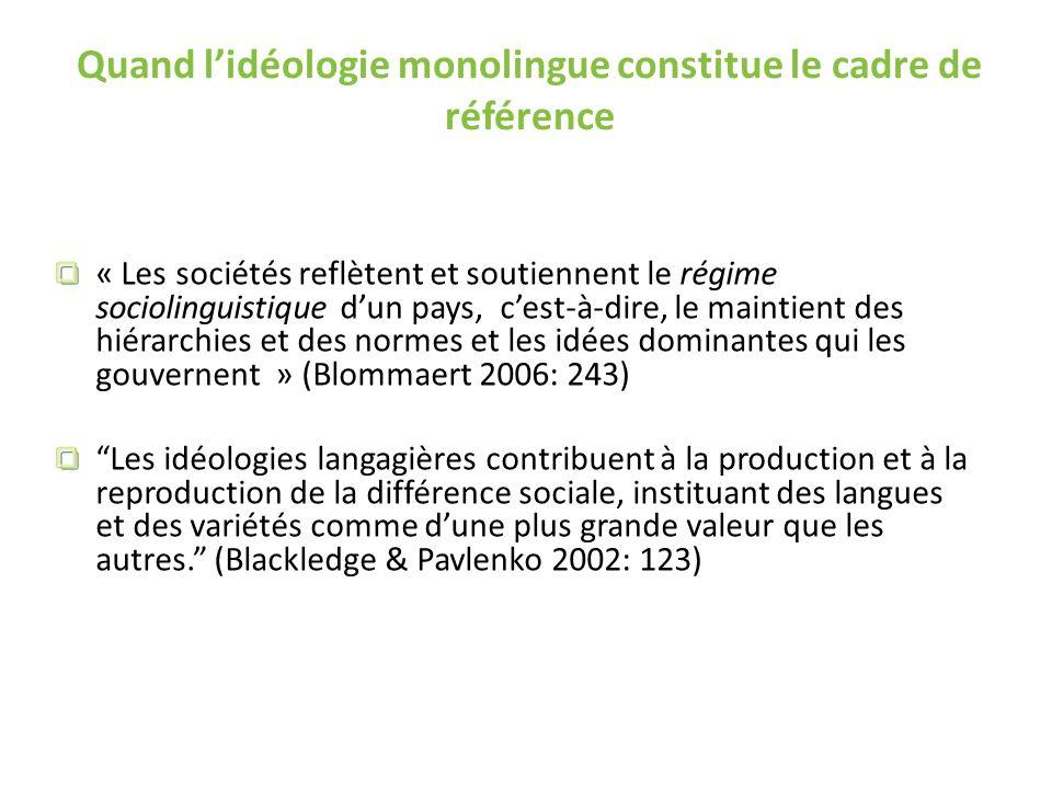 Quand lidéologie monolingue constitue le cadre de référence « Les sociétés reflètent et soutiennent le régime sociolinguistique dun pays, cest-à-dire,