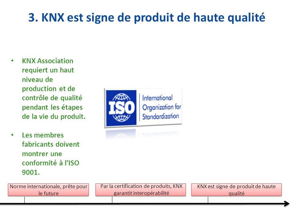 Norme internationale, prête pour le future Par la certification de produits, KNX garantit interopérabilité KNX est signe de produit de haute qualité KNX Association requiert un haut niveau de production et de contrôle de qualité pendant les étapes de la vie du produit.