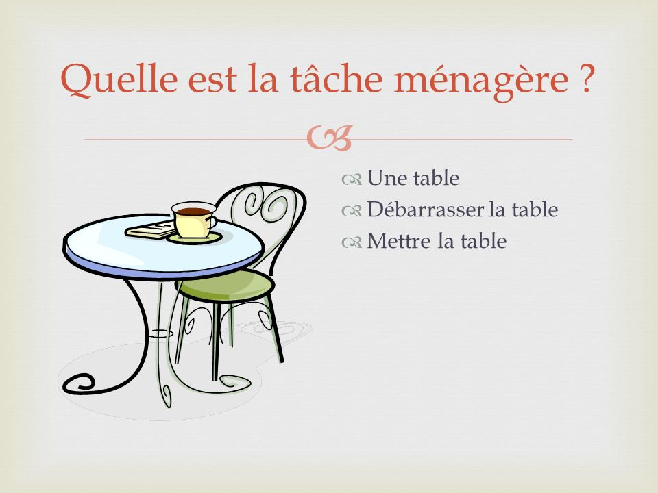 Quelle est la tâche ménagère ? Une table Débarrasser la table Mettre la table
