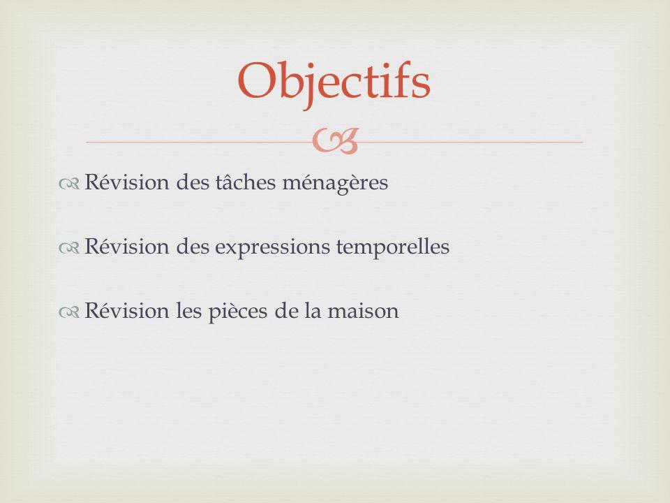Révision des tâches ménagères Révision des expressions temporelles Révision les pièces de la maison Objectifs