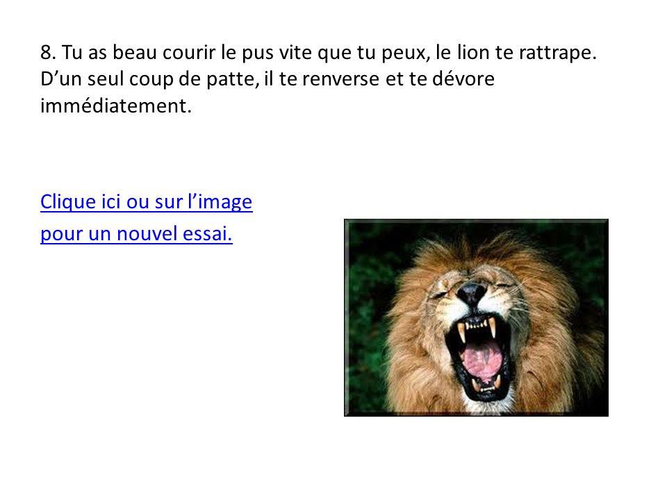 9.Le lion fonce sur toi. Le combat est dur, le fauve griffe et mord.
