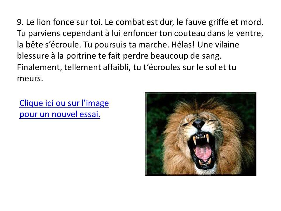 9. Le lion fonce sur toi. Le combat est dur, le fauve griffe et mord.