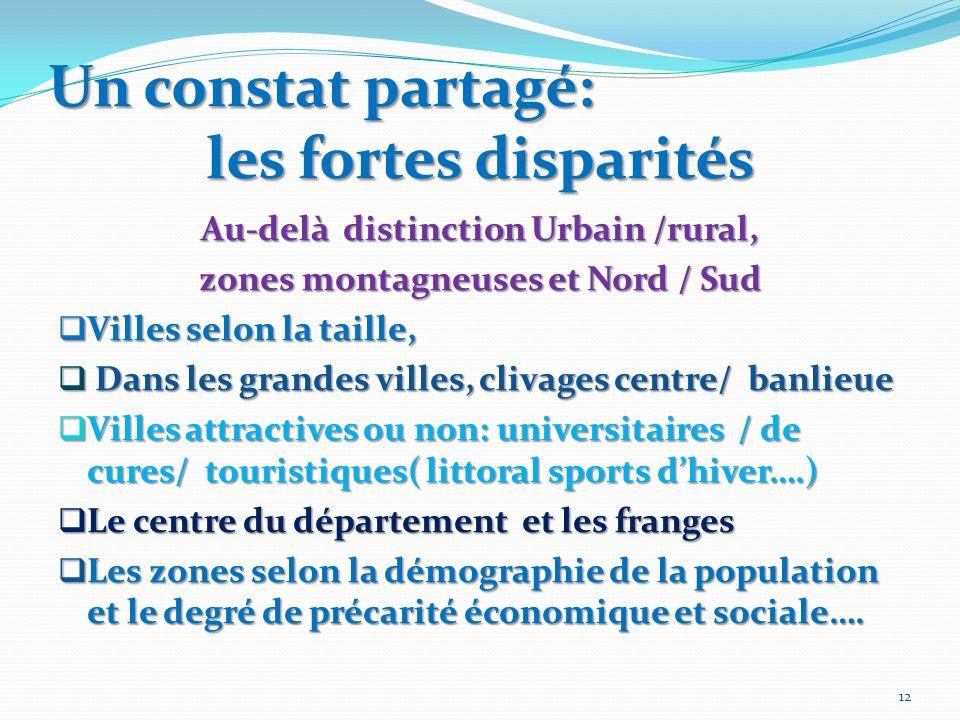 Un constat partagé: les fortes disparités Au-delà distinction Urbain /rural, zones montagneuses et Nord / Sud Villes selon la taille, Villes selon la