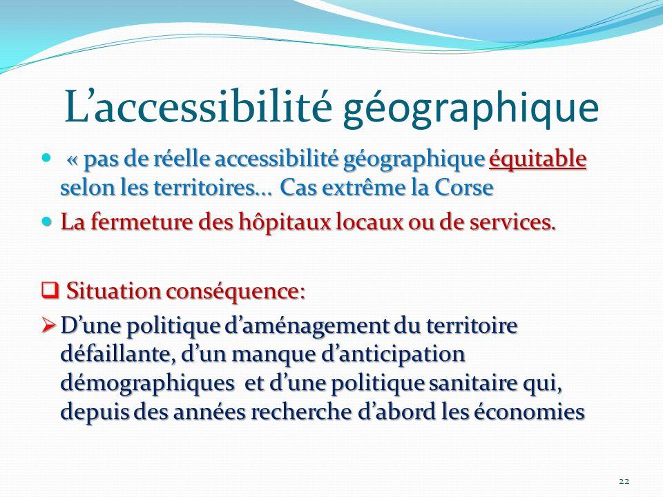 Laccessibilité géographique « pas de réelle accessibilité géographique équitable selon les territoires... Cas extrême la Corse La fermeture des hôpita