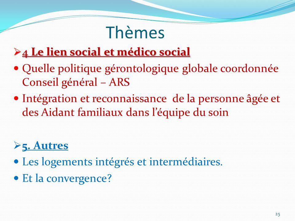 Thèmes 4 Le lien social et médico social 4 Le lien social et médico social Quelle politique gérontologique globale coordonnée Conseil général – ARS In