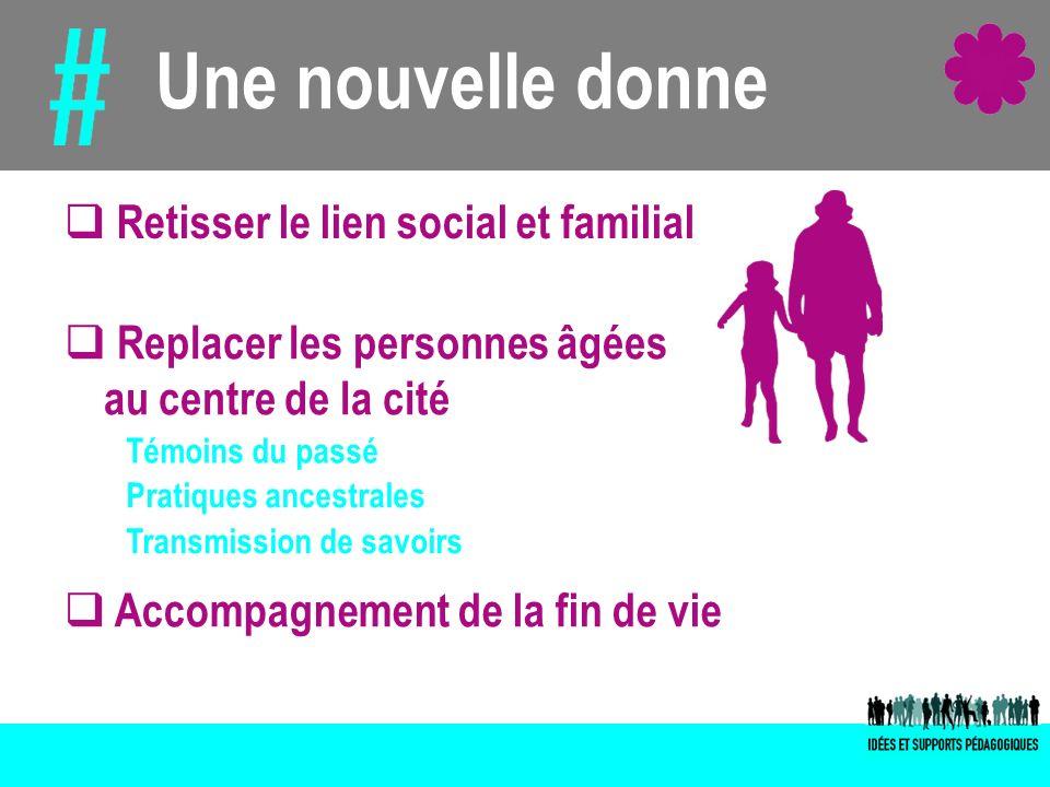 Une nouvelle donne Retisser le lien social et familial Témoins du passé Pratiques ancestrales Transmission de savoirs Replacer les personnes âgées au