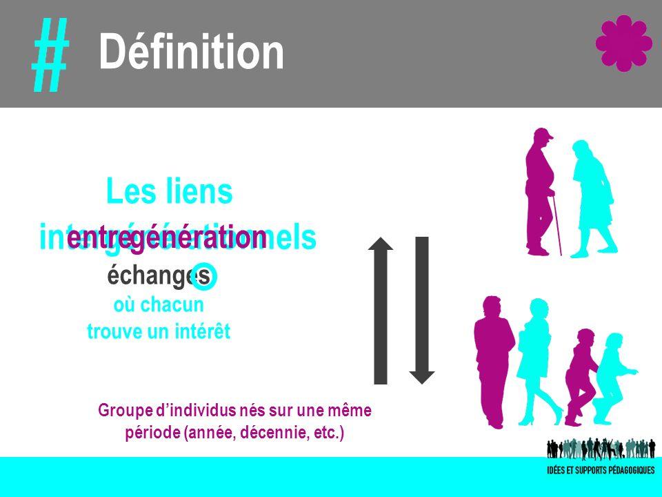 Définition intergénérationnels entre génération échanges où chacun trouve un intérêt Groupe dindividus nés sur une même période (année, décennie, etc.
