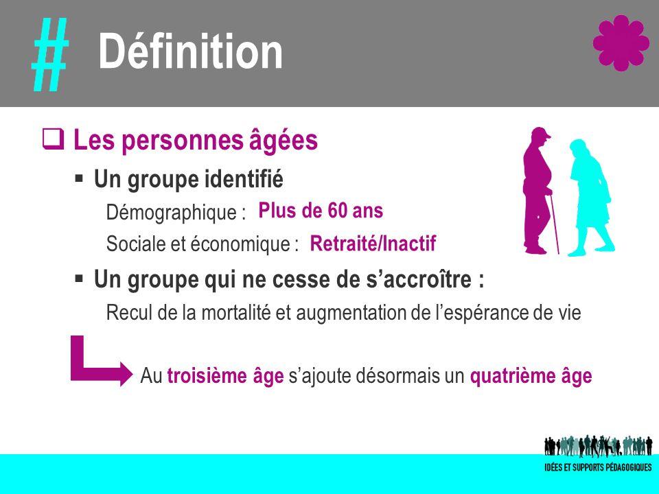 Les personnes âgées Un groupe identifié Démographique : Sociale et économique : Un groupe qui ne cesse de saccroître : Recul de la mortalité et augmen