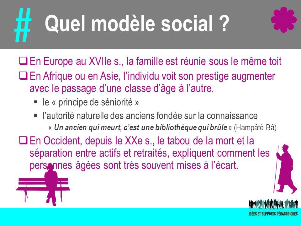 Quel modèle social ? En Europe au XVIIe s., la famille est réunie sous le même toit En Afrique ou en Asie, lindividu voit son prestige augmenter avec