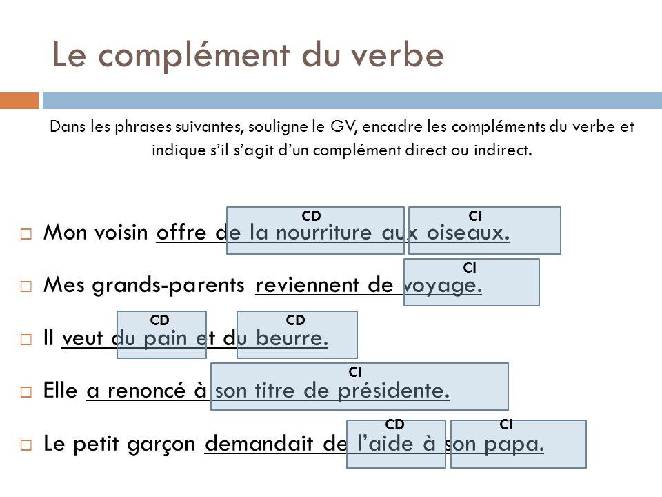 Le complément du verbe Dans les phrases suivantes, souligne le GV, encadre les compléments du verbe et indique sil sagit dun complément direct ou indi