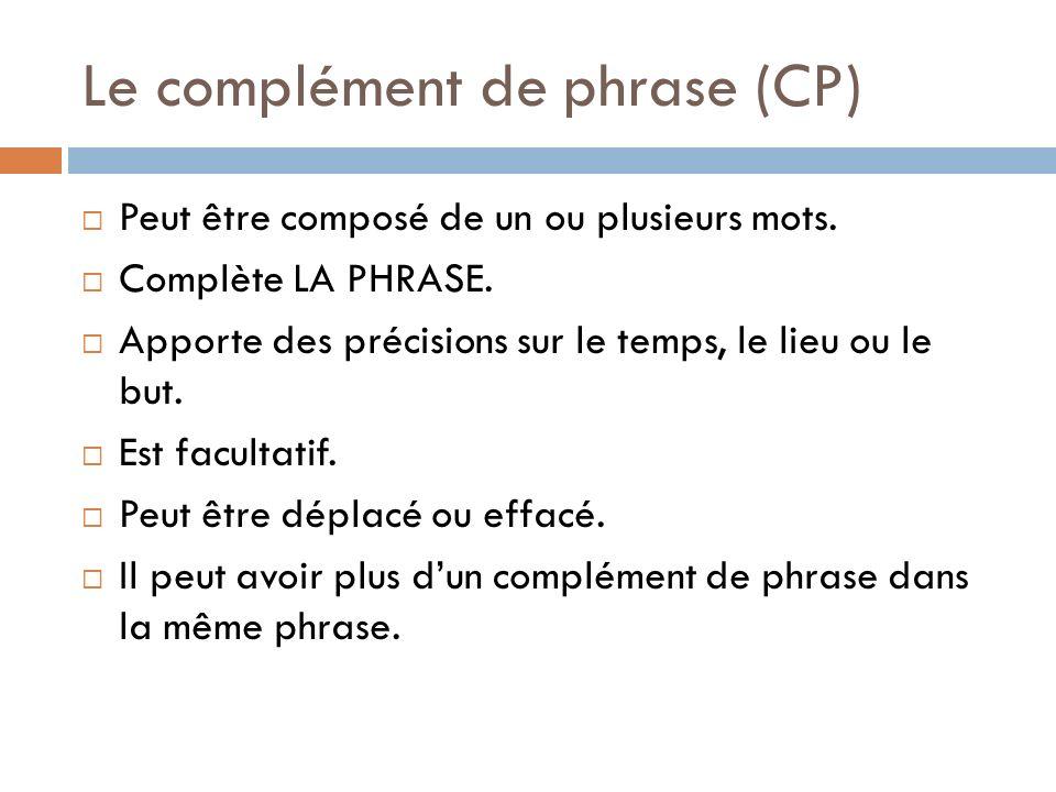 Le complément de phrase (CP) Peut être composé de un ou plusieurs mots. Complète LA PHRASE. Apporte des précisions sur le temps, le lieu ou le but. Es