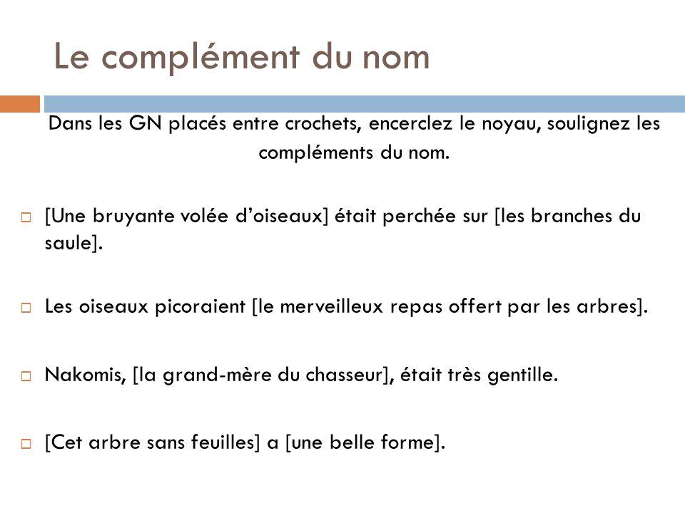 Le complément direct du verbe Complète LE VERBE Généralement un GN Généralement placé après le verbe Fait partie du GV Peut être obligatoire ou facultatif
