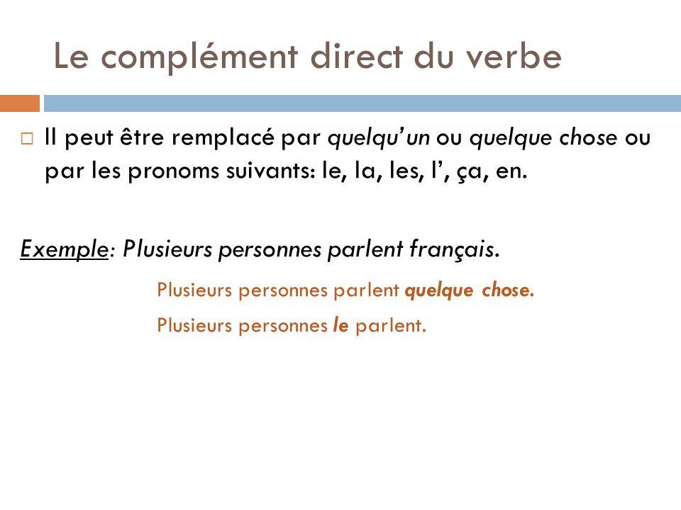 Le complément direct du verbe Il peut être remplacé par quelquun ou quelque chose ou par les pronoms suivants: le, la, les, l, ça, en. Exemple: Plusie
