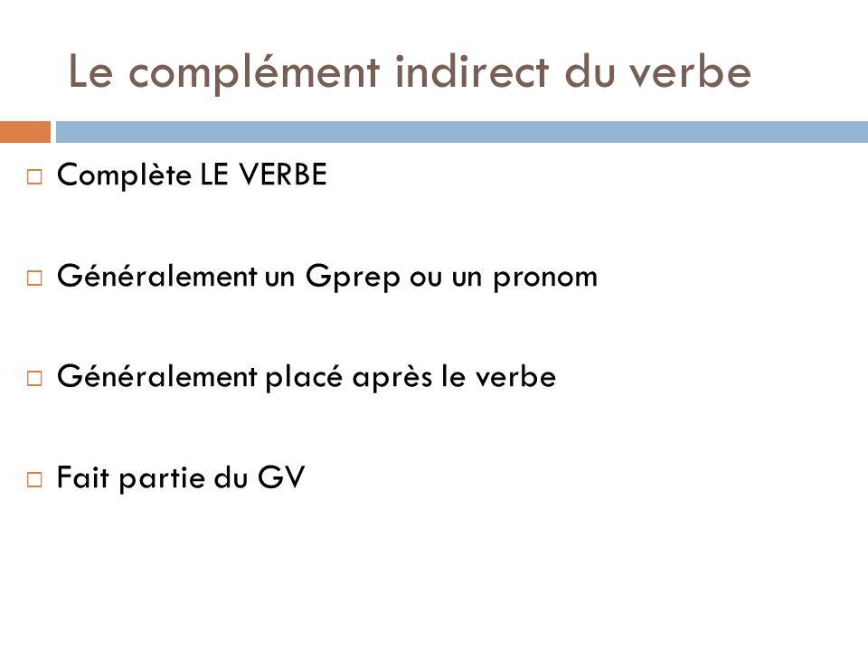 Le complément indirect du verbe Complète LE VERBE Généralement un Gprep ou un pronom Généralement placé après le verbe Fait partie du GV