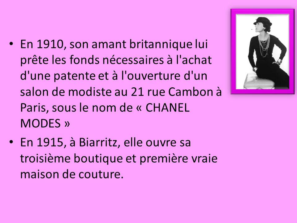 En 1910, son amant britannique lui prête les fonds nécessaires à l'achat d'une patente et à l'ouverture d'un salon de modiste au 21 rue Cambon à Paris