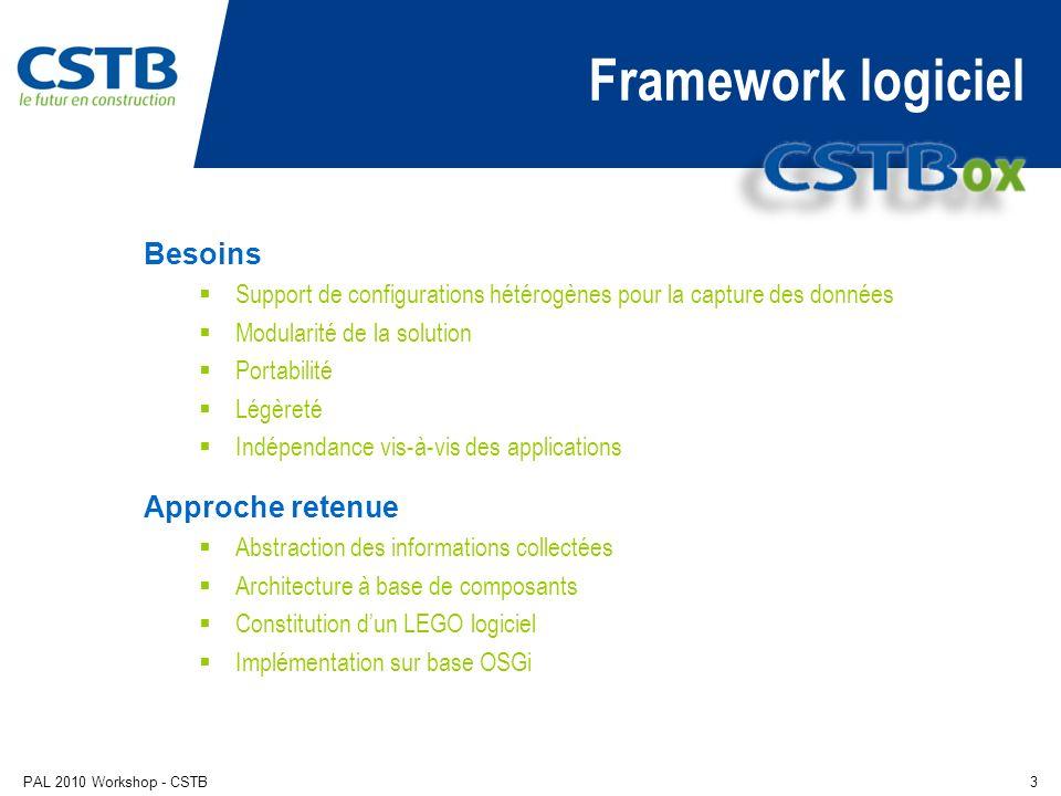 PAL 2010 Workshop - CSTB3 Framework logiciel Besoins Support de configurations hétérogènes pour la capture des données Modularité de la solution Portabilité Légèreté Indépendance vis-à-vis des applications Approche retenue Abstraction des informations collectées Architecture à base de composants Constitution dun LEGO logiciel Implémentation sur base OSGi