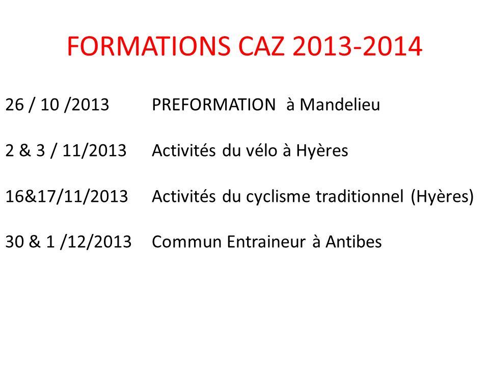 18/01/2014Préformation ( Draguignan) 25 & 26/01/14Activités du VTT –Blausasc 1 &2/02/14 Commun Entraineur Hyères 23&24/2/2014 Commun Entraîneur Club Expert ( Nice ) 1&2/03/2014Activités du BMX( St Maxime ) FORMATIONS CAZ 2013-2014