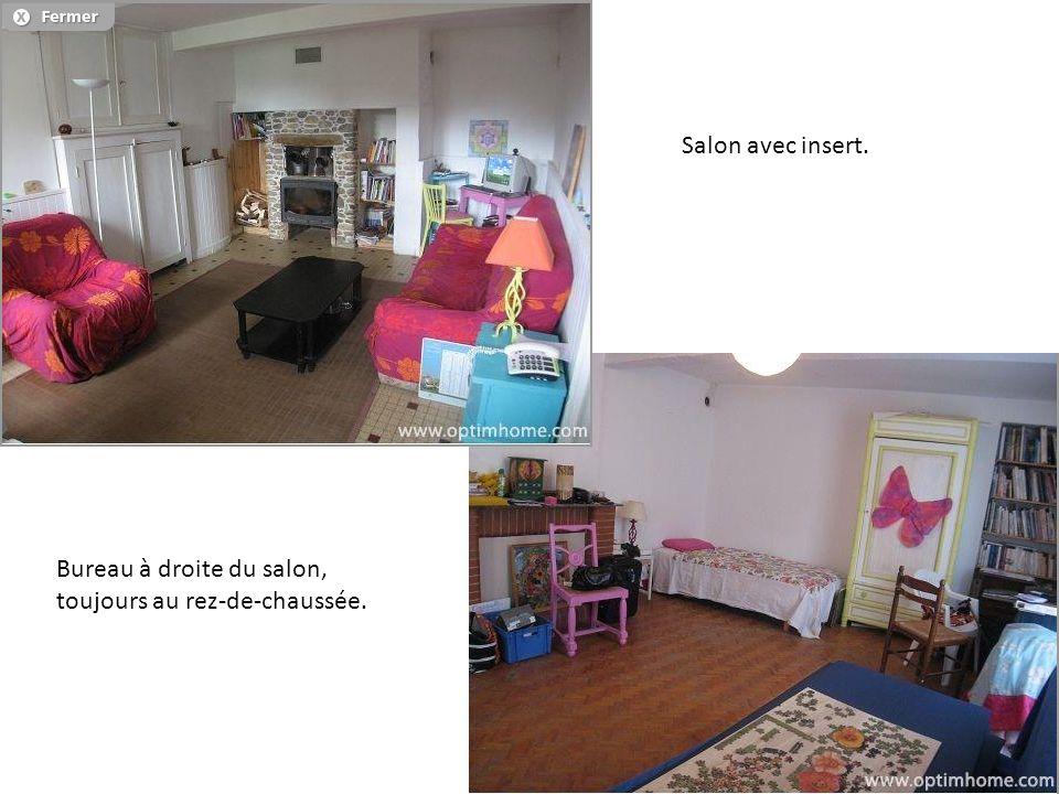Salon avec insert. Bureau à droite du salon, toujours au rez-de-chaussée.