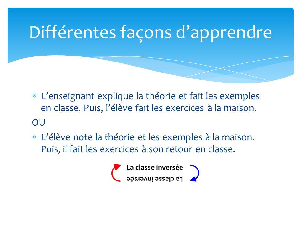 Lenseignant explique la théorie et fait les exemples en classe. Puis, lélève fait les exercices à la maison. OU Lélève note la théorie et les exemples