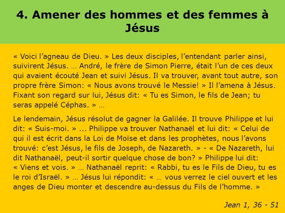 4.Amener des hommes et des femmes à Jésus « Voici lagneau de Dieu.