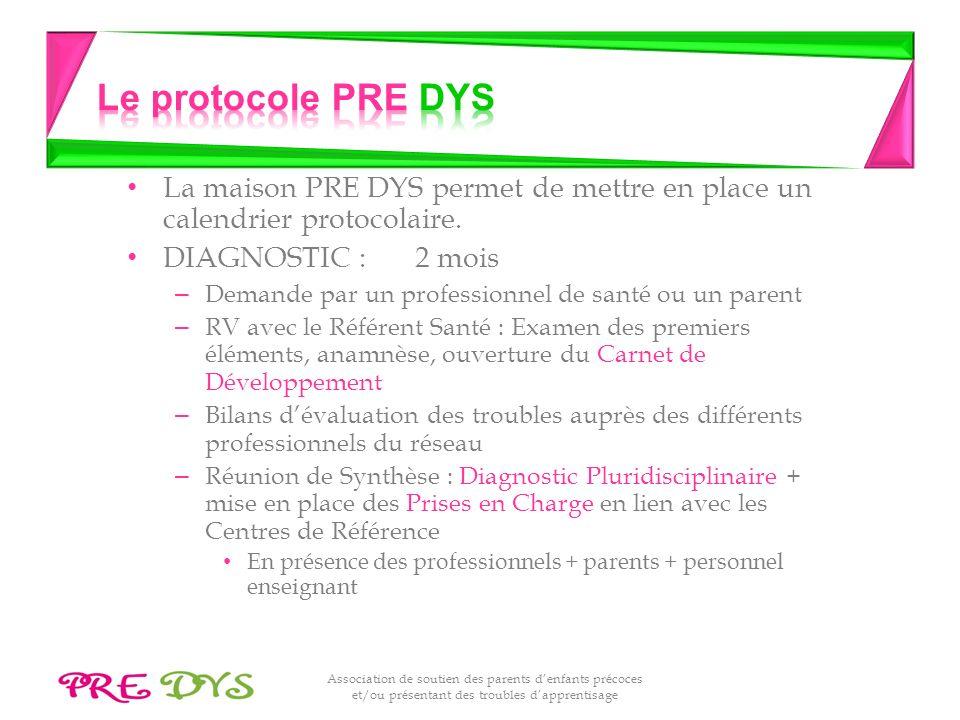 Association de soutien des parents denfants précoces et/ou présentant des troubles dapprentisage La maison PRE DYS permet de mettre en place un calendrier protocolaire.