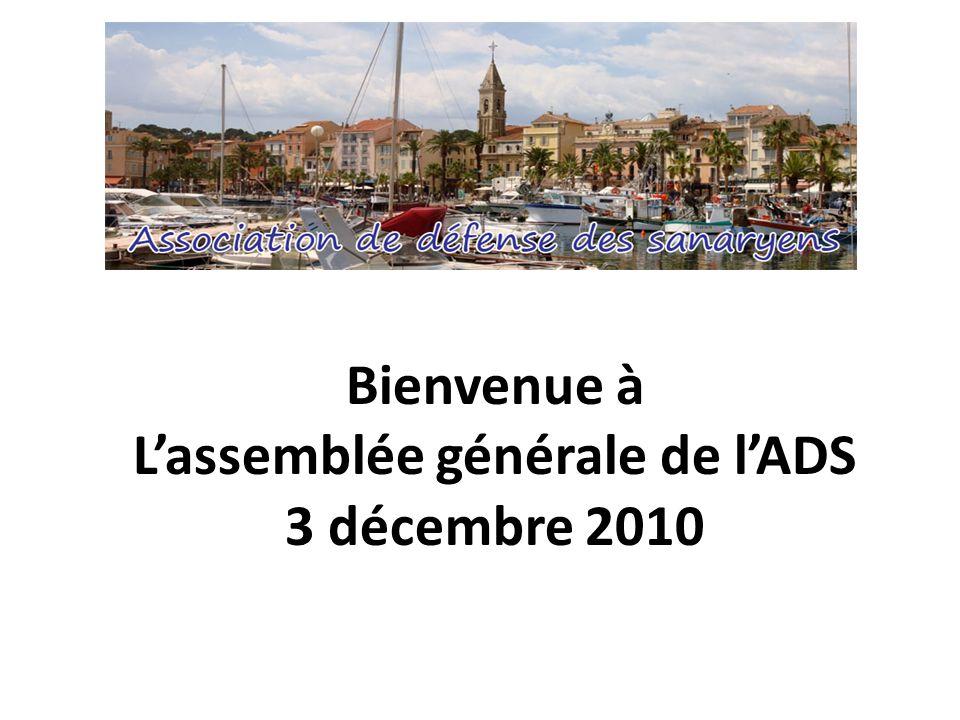 Bienvenue à Lassemblée générale de lADS 3 décembre 2010