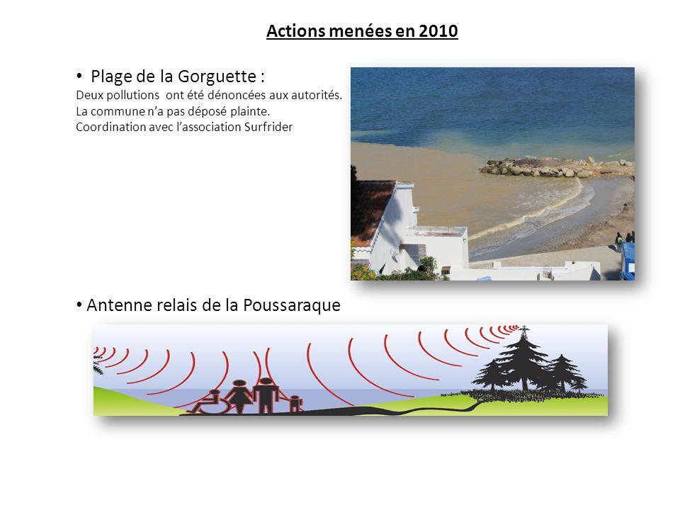 Actions menées en 2010 Plage de la Gorguette : Deux pollutions ont été dénoncées aux autorités.