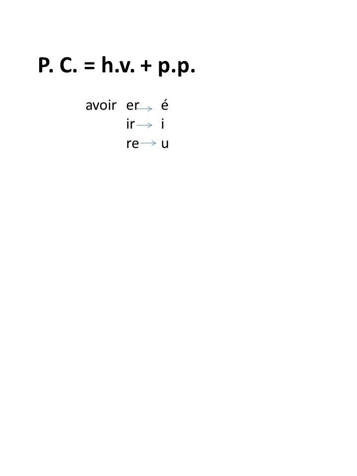 P. C. = h.v. + p.p. avoirEr Ir re éiuéiu Irregular p.p.
