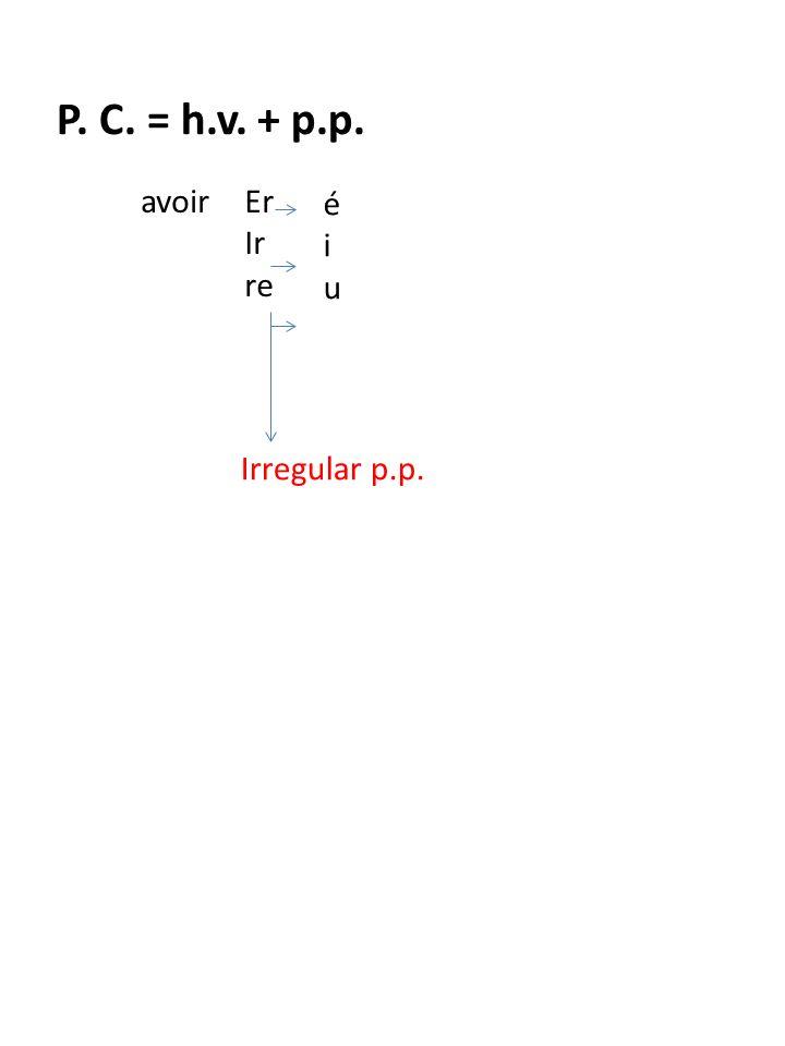 P. C. = h.v. + p.p. avoirEr Ir re éiuéiu Irregular p.p. être